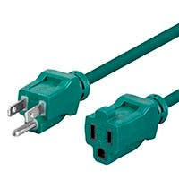 12ft 16AWG Green Outdoor Power Extension Cord Cable, 13A (NEMA 5-15P to NEMA 5-15R)