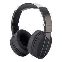 Monoprice Bluetooth Wireless Headphones with Built-In Microphone, Black and Brushed Metal Over Ear Headphones