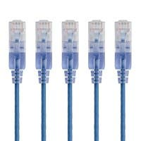 Monoprice SlimRun Cat6A Ethernet Patch Cable - Snagless RJ45, Stranded, 550Mhz, UTP, Pure Bare Copper Wire, 10G, 30AWG , 7ft, Blue, 5-Pack