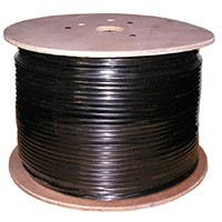 1000ft Cat5e Bulk Bare Copper UTP 24AWG Outdoor Watertape Direct Burial Solid Cable - Black