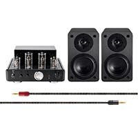 Monoprice 50 Watt Stereo Hybrid Tube Amplifier with Bluetooth and 5-inch Select Speakers Bundle