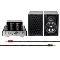 Monoprice 25 Watt Stereo Hybrid Tube Amplifier with Bluetooth and Retro Speakers Bundle