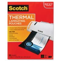 """Scotch Thermal Laminating Pouch - Sheet Size Supported: Letter 8.50"""" Width x 11"""" Length - Laminating Pouch/Sheet Size: 9"""" Width x 11.50"""" Length - for Photo, Document - Clear - 50 / pk"""