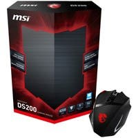 MSI Interceptor DS200 Gaming Mouse - Laser - Cable - Black, Red - USB - 16400 dpi - Computer - Scroll Wheel - 10 Button(s) - Right-handed Only