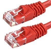 Monoprice Cat5e Ethernet Patch Cable - Snagless RJ45, Stranded, 350MHz, UTP, Pure Bare Copper Wire, 24AWG, 100ft, Red