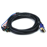 Monoprice 12ft VGA to 3 RCA Component Video Cable (HD15 - 3-RCA)