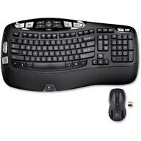 Logitech Wireless Wave Combo MK550 - USB Wireless RF Keyboard - 117 Key - USB Wireless RF Mouse - Laser - Scroll Wheel - Email, Internet Key Hot Key(s) - AA (PC)
