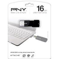 PNY 16GB Attaché USB 2.0 Flash Drive - 16 GB - USB 2.0 - Black - ReadyBoost