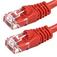 Monoprice Cat6 Ethernet Patch Cable - Snagless RJ45, Stranded, 550Mhz, UTP, Pure Bare Copper Wire, Crossover, 24AWG, 14ft, Red