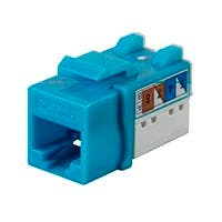 Monoprice Cat6A 90 Degree Unshielded Punch Down Keystone Jack, Dual Type IDC, 25 Pack, Blue