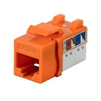 Monoprice Cat6A 90 Degree Unshielded Punch Down Keystone Jack, Dual Type IDC, 25 Pack, Orange