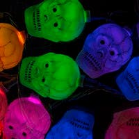10 Count Color Changing Antique Cracker Skull Halloween String Lights 11.5 Feet