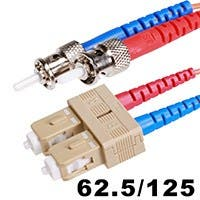Monoprice Fiber Optic Cable - ST to SC, OM1, 62.5/125 Type, Multi Mode, Duplex, Orange, 3m, Corning