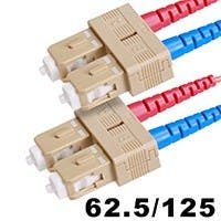 Monoprice Fiber Optic Cable - SC to SC, OM1, 62.5/125 Type, Multi Mode, Duplex, Orange, 1m, Corning