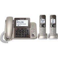 Panasonic KX-TGF352N DECT 6.0 Cordless Phone - Champagne Gold - Corded/Cordless - 1 x Phone Line - 2 x Handset - Speakerphone