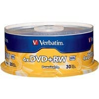 Verbatim DVD+RW 4.7GB 4X with Branded Surface - 30pk Spindle - TAA Compliant - 4.7GB - 30 Pack
