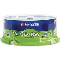 Verbatim CD-RW 700MB 4X-12X High Speed with Branded Surface - 25pk Spindle - TAA Compliant - 700MB - 25 Pack