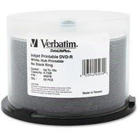 Verbatim DVD-R 4.7GB 16X DataLifePlus White Inkjet Printable, Hub Printable - 50pk Spindle - TAA Compliant - Hub Printable - 50pk Spindle