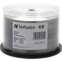 Verbatim DVD-R 4.7GB 16X VX Shiny Silver Silk Screen Printable - 50pk Spindle - TAA Compliant - 120mm - 2 Hour Maximum Recording Time