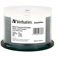 Verbatim BD-R 25GB 6X DataLifePlus White Thermal Printable, Hub Printable - 50pk Spindle - TAA Compliant - 25GB - 50pk Spindle 26683