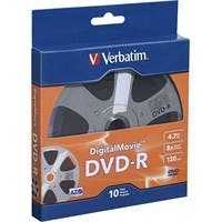 Verbatim DVD-R 4.7GB 8X with DigitalMovie Surface - 10pk Bulk Box - TAA Compliant - 120mm - 2 Hour Maximum Recording Time
