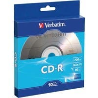 Verbatim CD-R 700MB 52X with Branded Surface - 10pk Bulk Box - TAA Compliant - 120mm - 1.33 Hour Maximum Recording Time