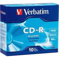 Verbatim CD-R 700MB 52X with Branded Surface - 10pk Slim Case - 52X - 700MB - 10pk Slim Case