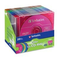 Verbatim CD-RW 700MB 4X-12X DataLifePlus with Color Branded Surface and Matching Case - 20pk Slim Case, Assorted - TAA Compliant
