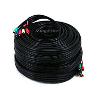 Monoprice 100ft 22AWG 5-RCA Component Video/Audio Coaxial Cable (RG-59/U) - Black