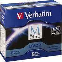 Verbatim M-Disc DVDR 4.7GB 4X with Branded Surface - 5pk Jewel Case Box - TAA Compliant - 120mm - 2 Hour Maximum Recording Time