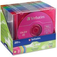 Verbatim CD-RW 700MB 2X-4X DataLifePlus with Color Branded Surface and Matching Case - 20pk Slim Case, Assorted - TAA Compliant - 120mm - 1.33 Hour Maximum Recording Time