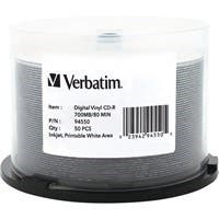 Verbatim CD-R 80min 52X with Digital Vinyl/White Inkjet Printable Surface, Hub Printable - 50pk Spindle