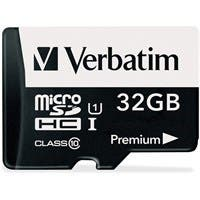 Verbatim 32GB Premium microSDHC Memory Card with Adapter, UHS-I Class 10 - TAA Compliant - Class 10 - 1 Card/1 Pack
