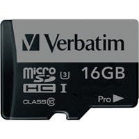 Verbatim 16GB Pro 600X microSDHC Memory Card with Adapter, UHS-I U3 Class 10 - TAA Compliant - Class 10/UHS-I (U3) - 90 MB/s Read1 Pack - 600x Memory Speed
