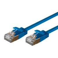 SlimRun Cat6A Ethernet Patch Cable - Snagless RJ45, Stranded, S/STP, Pure Bare Copper Wire, 36AWG, 6in, Blue
