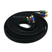 Monoprice 12ft 18AWG CL2 Premium 3-RCA Component Video Coaxial Cable (RG-6/U) - Black