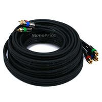 25ft 18AWG CL2 Premium 3-RCA Component Video Coaxial Cable (RG-6/U) - Black