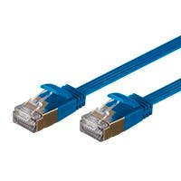 SlimRun Cat6A Ethernet Patch Cable - Snagless RJ45, Flat, Stranded, S/STP, Pure Bare Copper Wire, 36AWG, 7ft, Blue