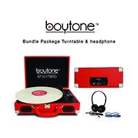boytone Mobile Briefcase Turntable BT-101TBRD - Belt Drive - 33.3, 45, 78 rpm - Red