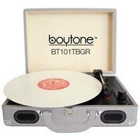 boytone Mobile Briefcase Turntable BT-101TBGR - Belt Drive - 33.3, 45, 78 rpm - Gray