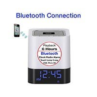 Boytone BT-84CB Portable FM Radio Alarm Clock Wireless Bluetooth 4.1 Speaker, 3-Way Night Light Touch Lamp, Built–in 8 Hours Play Rechargeable Battery, LED, Mic, USB & Micro SD Slot, AUX, 110/220v