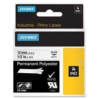 """Dymo RhinoPRO Wire and Cable Label Tape - Permanent Adhesive - """"0.50"""" Width x 18 ft Length - Thermal Transfer - White, Black - Polyester - 1 Each"""