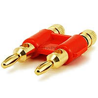 Monoprice Dual High-Quality Gold Plated Speaker Banana Plugs, Red