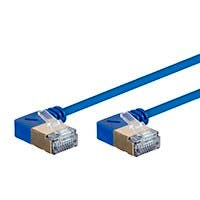 Monoprice SlimRun Cat6A 90 Degree 36AWG S/STP Ethernet Network Cable, 50ft Blue