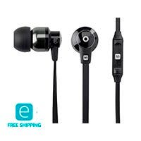 Monoprice Essentials Hi-Fi Reflective Sound Technology Earbuds Headphones with Microphone-Black/Carbonite