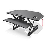 Workstream by Monoprice Full-Size Sit-Stand Workstation Converter, Corner Desk 42in