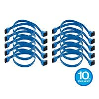 Monoprice 18in SATA 6Gbps Cable with Locking Latch (90-degree to 180-degree), Blue 10-pack