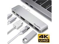 "USB-C 5 in 1 Multi-Port Hub for Macbook Pro 13"" & 15"" Thunderbolt 3 4K HDMI Out Silver"
