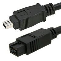 Monoprice 9-pin/4-pin BILINGUAL FireWire 800/FireWire 400 Cable, 6ft Black