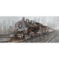 "RAILWAY CROSSING ARTIST ENHANCED MIXED MEDIA WALL ART 16""X40"""